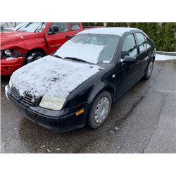 2002 VOLKSWAGEN JETTA, BLACK, 4DRSD, GAS, AUTOMATIC, VIN#3VWSB29M72M023048, TMU *NO KEYS, MUST TOW,
