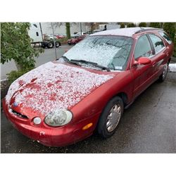 1997 FORD TAURUS, RED, 4DRSW, GAS, AUTOMATIC, VIN#FALP57U4VG229641, 257,262KMS, *TMU, NO KEYS, MUST