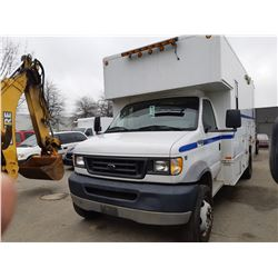 2002 FORD E550 SERVICE , WHITE, DIESEL, AUTOMATIC, VIN#1FDAE55F02HB18453, 95,937KMS, RD,AC, 1 ICBC