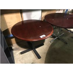 CHERRY WOOD 3' ROUND, BLACK METAL BASE RESTAURANT TABLE