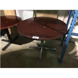 "CHERRY WOOD 42"" ROUND, BLACK METAL BASE RESTAURANT TABLE"