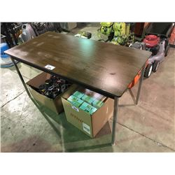 "DARK  WOOD 29"" X 60"" METAL LEG TABLE"