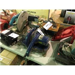 BLUE ELECTRIC MITRE SAW AND RYOBI SC-160 SCROLL SAW