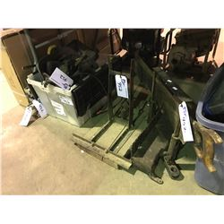 TIRE CHAINS, JACK STANDS, CUTTING WEDGE, MITER SAW, LEVELS & ASSORTED POWER TOOLS