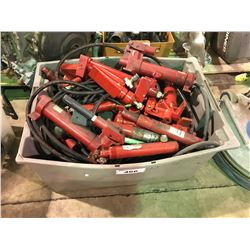 BIN OF ASSORTED HYDRAULIC PORT-A-POWERS AND PARTS