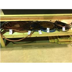 ASSORTED ELECTRICAL CORDS & AIR / WATER HOSE