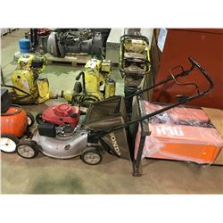 GREY HONDA COMMERCIAL GAS POWERED LAWN MOWER WITH BAG