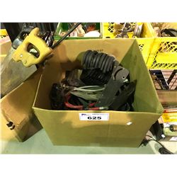 BOX OF ASSORTED HOSE, TOOLS & HOOKS