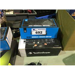 ROCKFORD 750W SINGLE CHANNEL & JL AUDIO MX 300/1 AMPLIFIERS