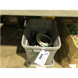 BIN OF MISCELLANEOUS ELECTRICAL, POWER BARS & CABLES