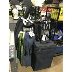 ASSORTED CAMPING GEAR, TRADESHOW DISPLAY BAGS & CONTENTS