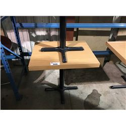 "NATURAL WOOD 24"" X 30"" BLACK METAL BASE RESTAURANT TABLE"