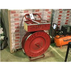 RED MOBILE PLASTIC BANDING CART WITH TOOLS