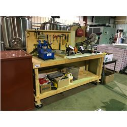 MOBILE WOODEN TOOL BENCH WITH TOOLS, FIRST - AID KIT, FIRE EXTINGUISHER & MISCELLANEOUS WOOD