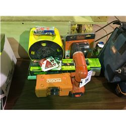 RYOBI DETAIL SANDER, SANDING DISCS, 2 RIDGID DRILL BIT CASES WITH CONTENTS,  EXTENSION CORD REEL