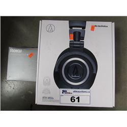 AUDIO TECHNICA ATH-M50X HEADPHONES & ROKU STREAMING STICK+