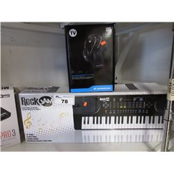 ROCKJAM 49 KEY MUSIC KEYBOARD & SENNHEISER RS 135 HEADPHONES