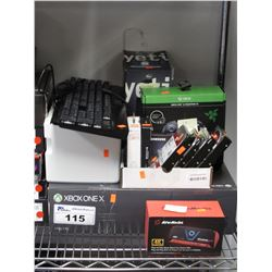 XBOX ONE X, HARD DRIVES, RAZER CONTROLLER, YETI MICROPHONE, ETC (FOR PARTS, REPAIR, SALVAGE)