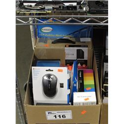BOX OF ASSORTED ELECTRONICS, KENSINGTON ORBIT MOUSE, MICROSOFT WIRELESS MOBILE 4000 MOUSE,