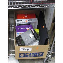 BOX OF MOTOROLA BABY MONITOR, MSI GT 730 VIDOE CARD, NETGEAR WIFI RANGE EXTENDER, AOC EXTERNAL USB