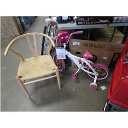 "WOOD CHAIR, 2 - 16"" GIRLS BICYCLES"