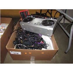BOX OF ASSORTED CABLES, STEREO, HOUSEHOLD ITEMS, MISC