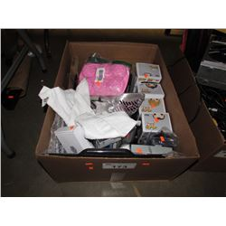 BOX OF ASSORTED HOUSEHOLD ITEMS, LINEN, ELECTRONICS, BOOKS, ETC