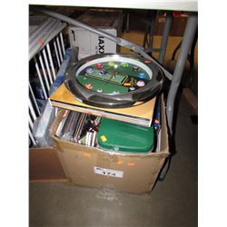 BOX OF ASSORTED RECORDS, CLOCK, HOUSEHOLD ITEMS, ETC
