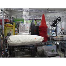 LU MAX ROTARY BARREL PUMP, CORNER WALL MOUNT SHELF, ROPE, JEWELRY ORGANIZER, CAMP STOVE KIT, CONES,