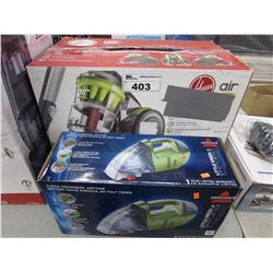 HOOVER AIR LIGHTWEIGHT MANEUVERABLE MULTI-CYCLONIC CANISTER VAC & BISSELL LITTLE GREEN JR SPOTLIFTER