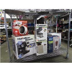 HONEYWELL CERAMIC HEATER, HAMILTON BEACH FLEX BREW COFFEE STATION, CUISINART WAFFLE MAKER,