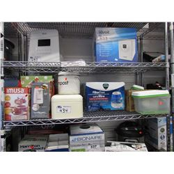 COMPOST BIN, BREAD BOX, TUPPERWARE CONTAINERS, GLASSWARE, VICKS FILTER FREE COOL MIST HUMIDIFIER,