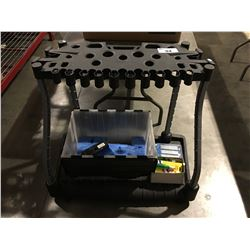 RUBBERMAID ROLLING TOOL ORGANIZING CART, BOX OF SCRUB HEADS, & BOX OF MULTI SCREW DRIVERS
