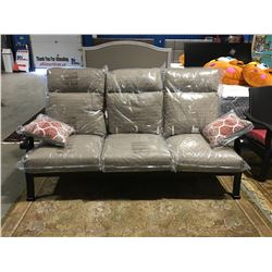 3 SEATER METAL FRAMED WITH 2 THROW CUSHIONS OUTDOOR PATIO SOFA