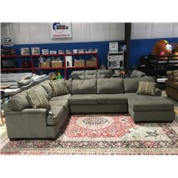 3PCS GREY UPHOLSTERED SECTIONAL SOFA WITH 3 THROW CUSHIONS