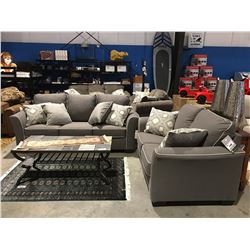 2PCS GREY UPHOLSTERED WITH WHITE TRIM SOFA & LOVE SEAT SET WITH 6 THROW CUSHIONS