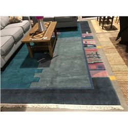 GREEN NAPAL APPROX 12'X9' MULTI COLOURED AREA RUG