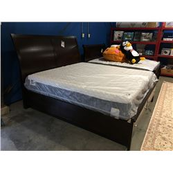 KING SIZED MAHOGANY FINISH PLATFORM BED FEATURING  2 DRAWER FOOTBOARD