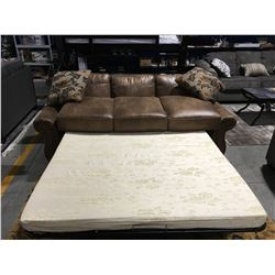 TAN MICRO FIBER  UPHOLSTERED 3 SEATER SOFA BED WITH 2 THROW CUSHIONS