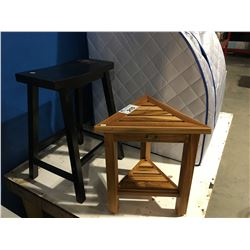 ECODECORS TEAK WOOD SPA STOOL & DARK WOOD FINISH SIDE STOOL