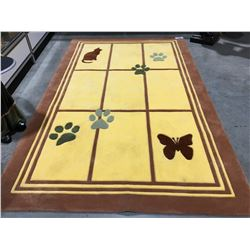 MACHINE MADE - WOOL 5'X8' KITTY CAT, BUTTERFLY & PAW PRINT AREA RUG