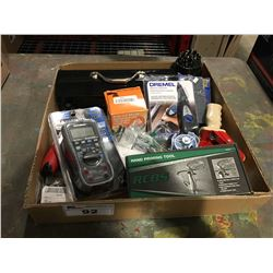 BOX OF ASSORTED TOOLS & MISCELLANEOUS ITEMS