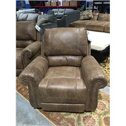 TAN MICRO FIBER  UPHOLSTERED ROCKER RECLINER