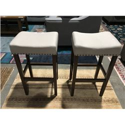 PAIR OF CONTEMPORARY  GREY BAR STOOLS