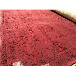 PATCHWORK CARPET - WOOL  8'X5' AREA RUG BURGUNDY (RETAIL VALUE $2,400.00)