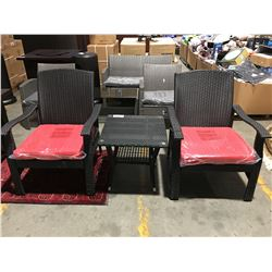 3PCS OUTDOOR PATIO SET - 2 CHAIRS & SMALL GLASS TOP SIDE TABLE