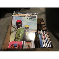 BOX OF ASSORTED RECORDS/CD'S/ DVD'S & BLURAY
