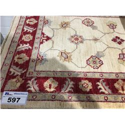 "SARUGH ANTIQUE FIN-WOOL 4'2""X2'7"" PERSIAN AREA RUG RUNNER (RETAIL VALUE $1,090.00)"