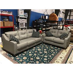 2PCS GREY UPHOLSTERED SOFA & LOVE SEAT SET WITH 4 THROW CUSHIONS