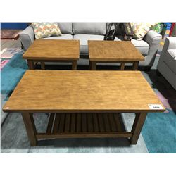 CONTEMPORARY 3PCS SOLID WOOD COFFEE & END TABLE SET